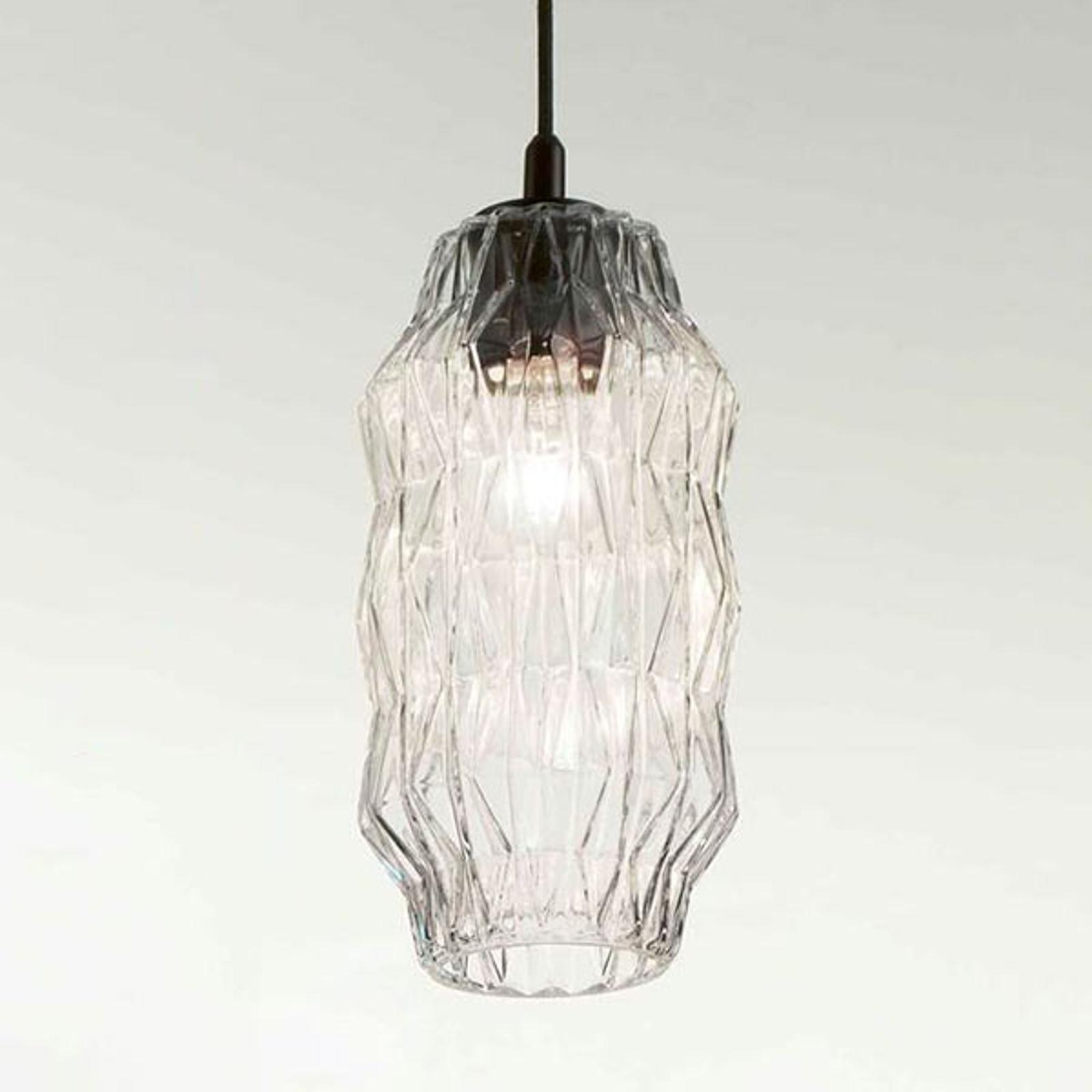 Lampa wisząca Origami ze szkła, przezroczysta