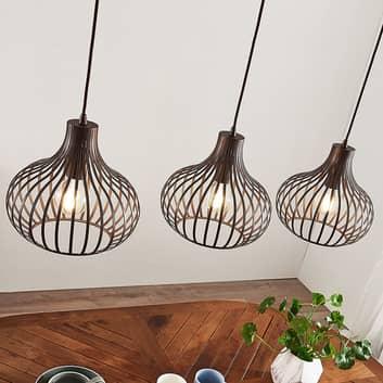 Kooivormige hanglamp Frances, bruin, 3lamps