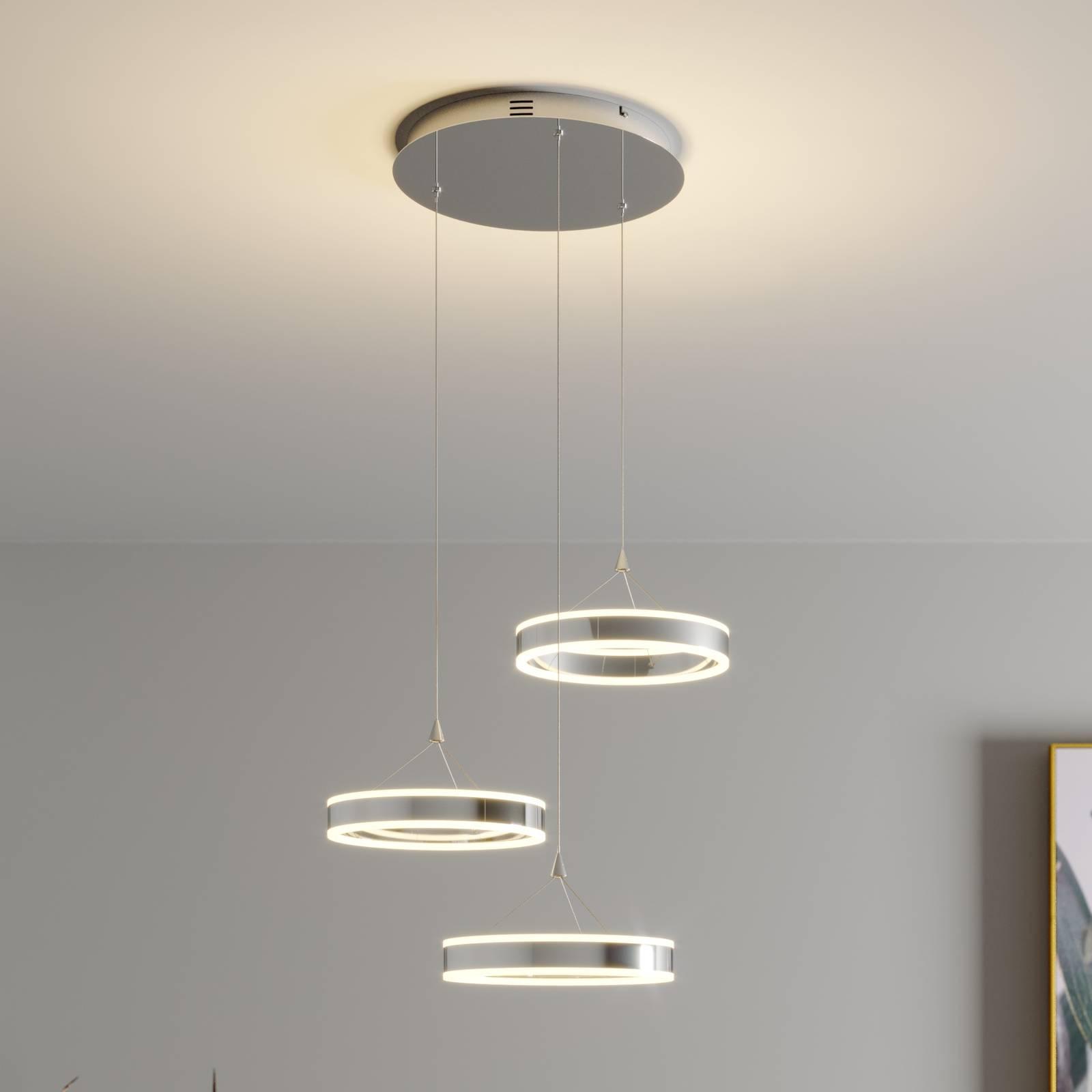 LED hanglamp Lyani, 3 ringen, hoogte verschillend