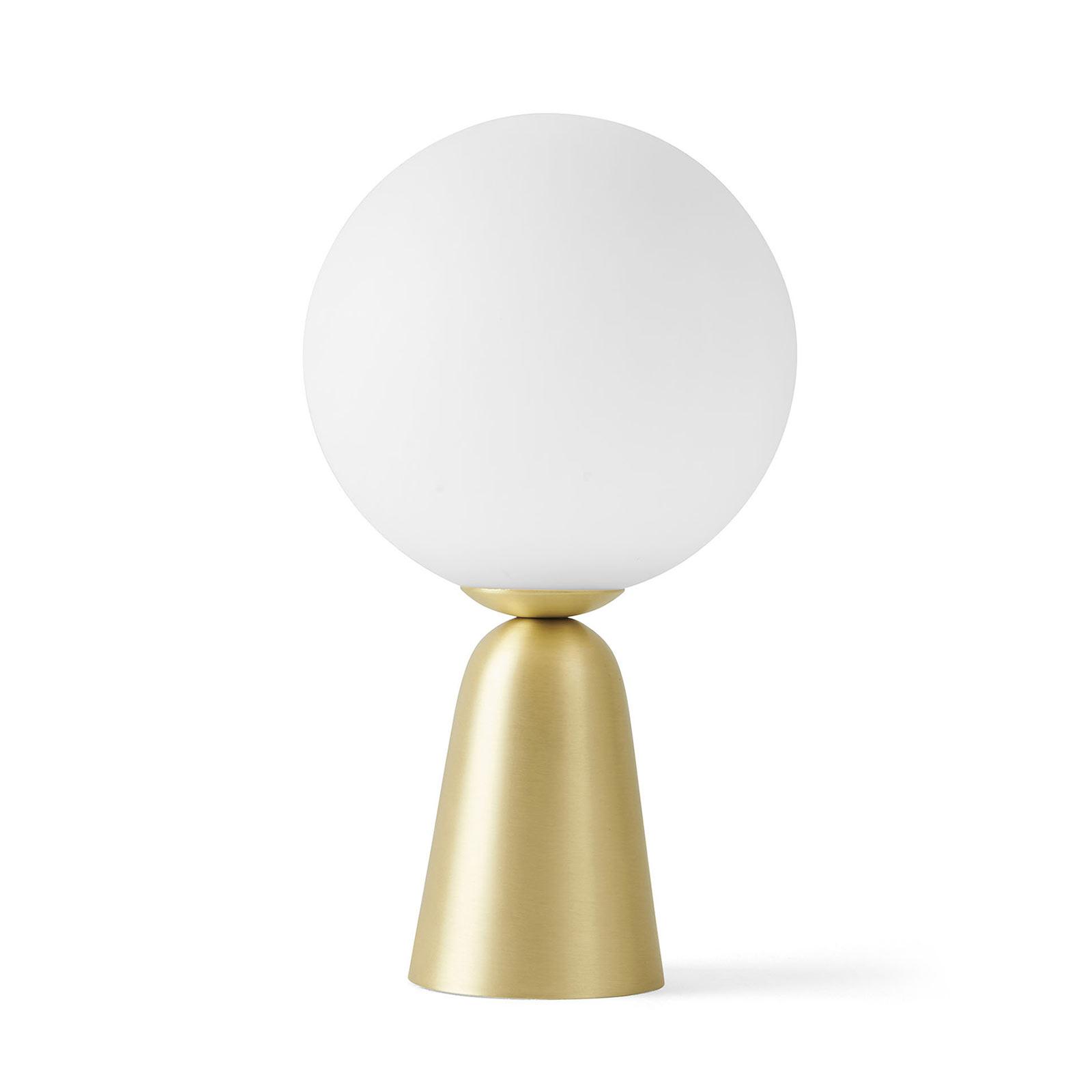 Tischleuchte Lunar mit goldenem Fuß, Ø 12 cm