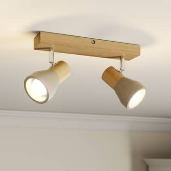 LED reflektor Filiz ze dřeva a betonu, 2bodový
