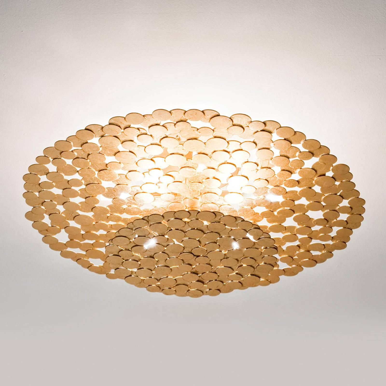 Atrakcyjna lampa sufitowa Tresor 60 cm, złota