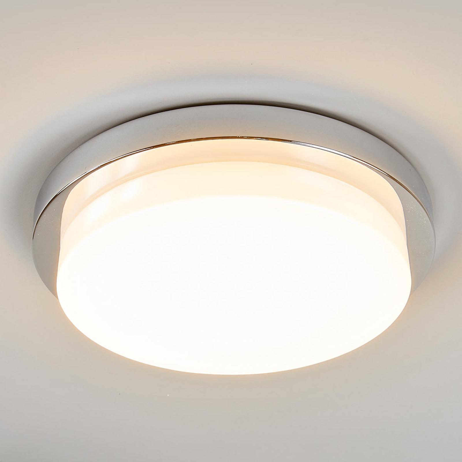 Glossy chrome LED ceiling light Cordula, IP44_9641094_1