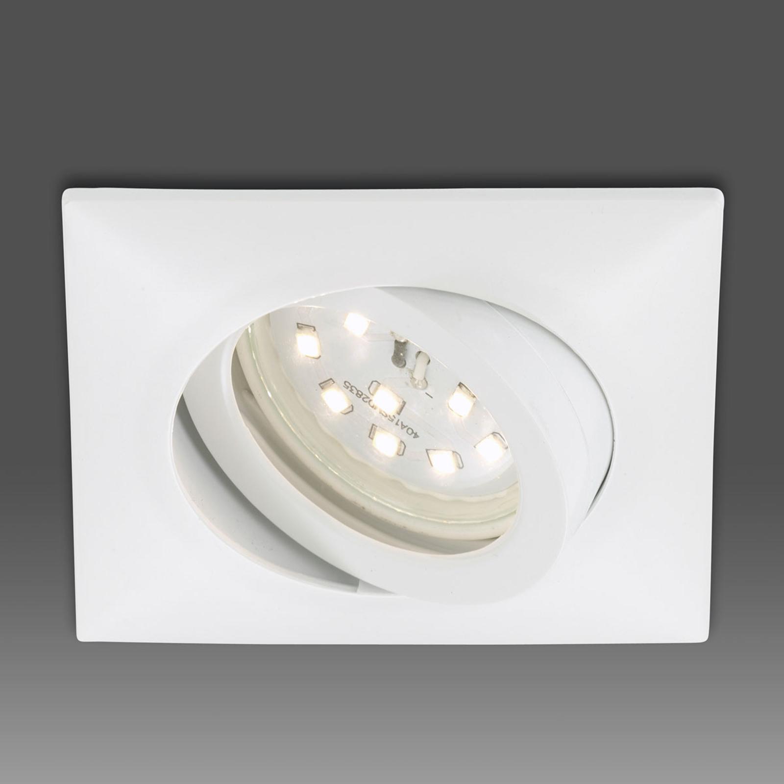Erik LED-indbygningsspot, hvid, kantet