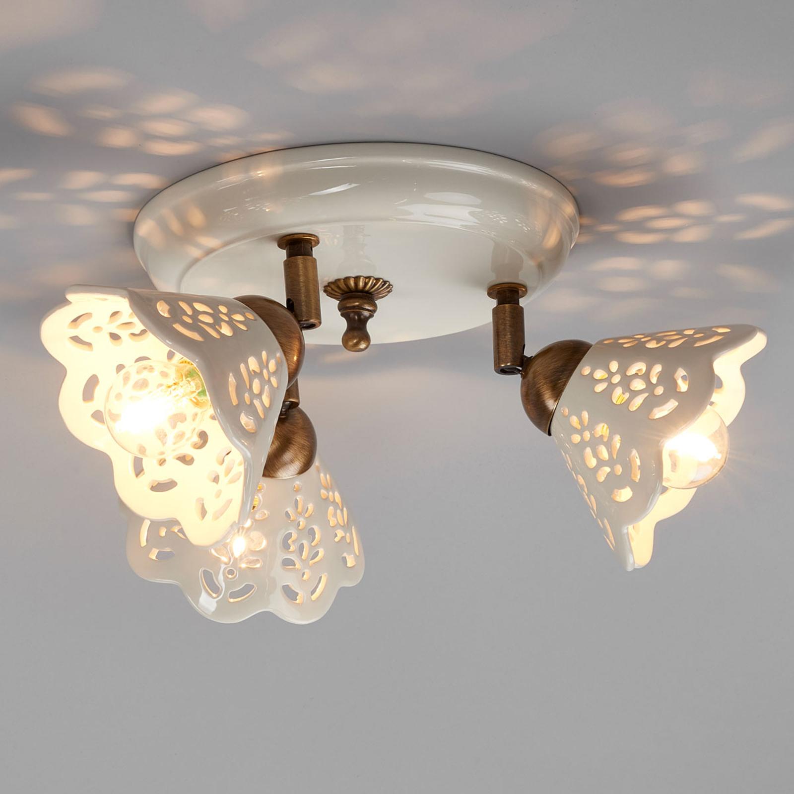 Encantadora lámpara de techo PORTICO de 3 llamas