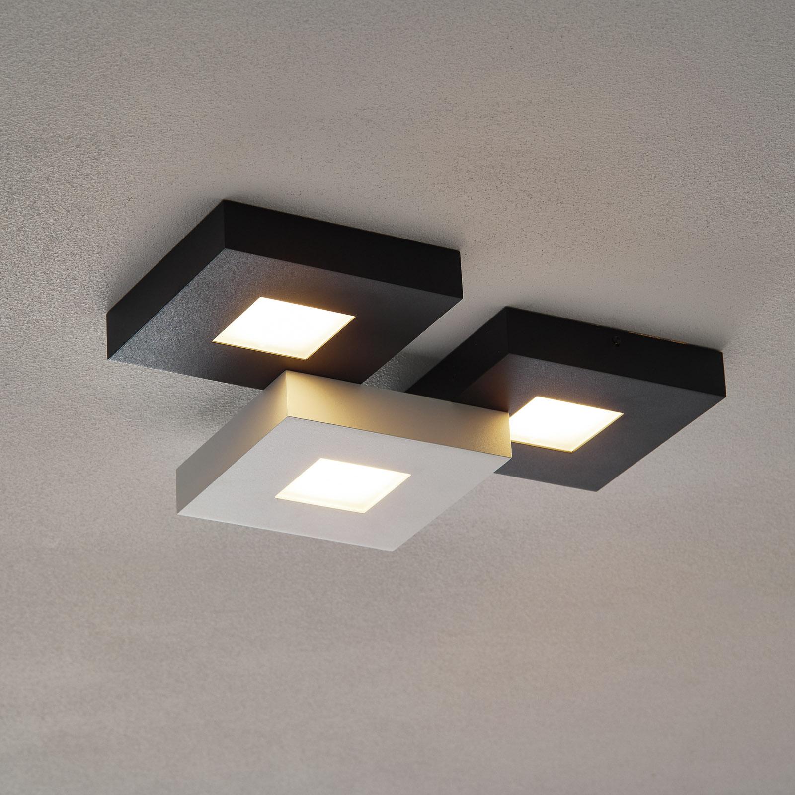 3-punktowa lampa sufitowa LED Cubus, czarno-biała