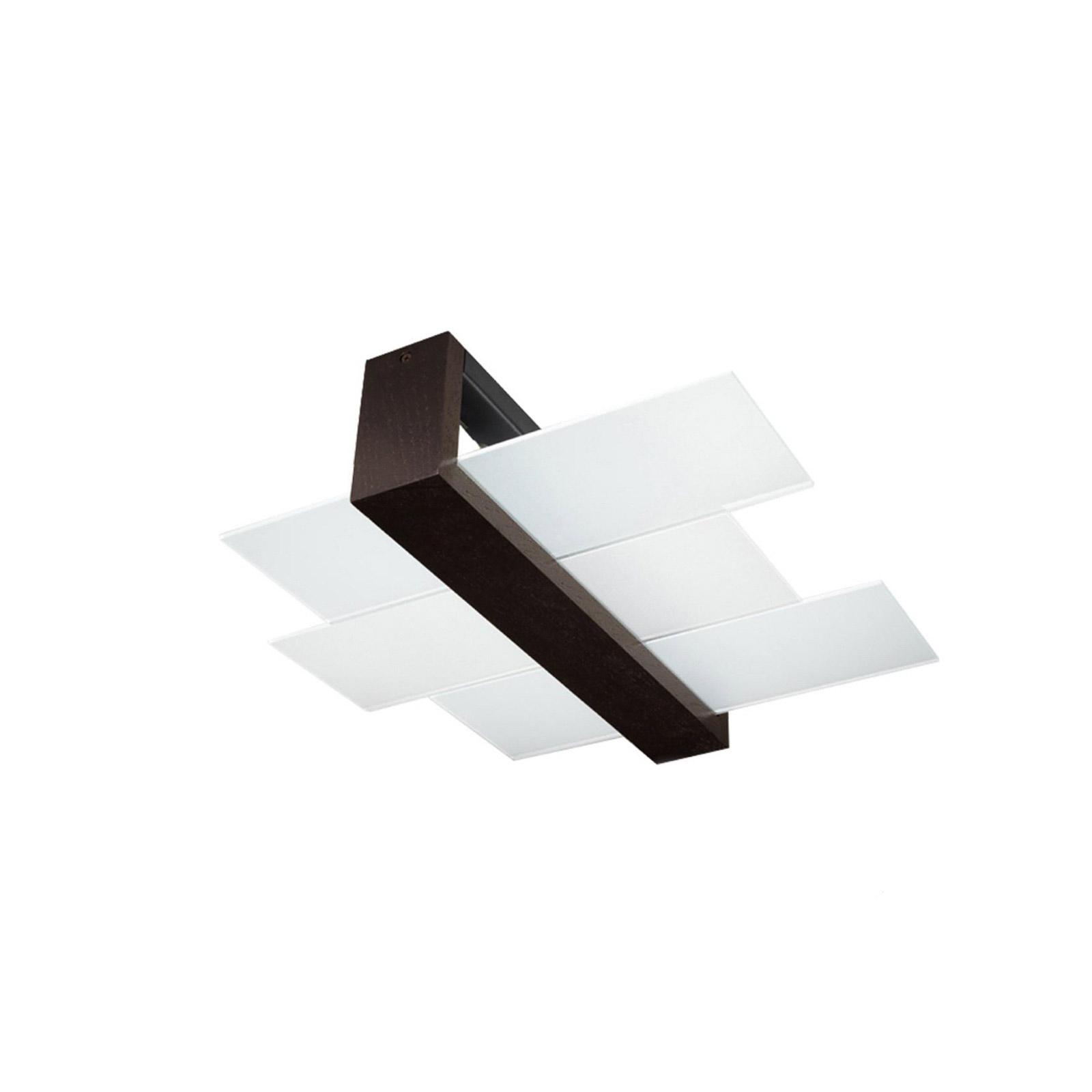 Deckenleuchte Shifted 2, Glas und Wenge-Holz