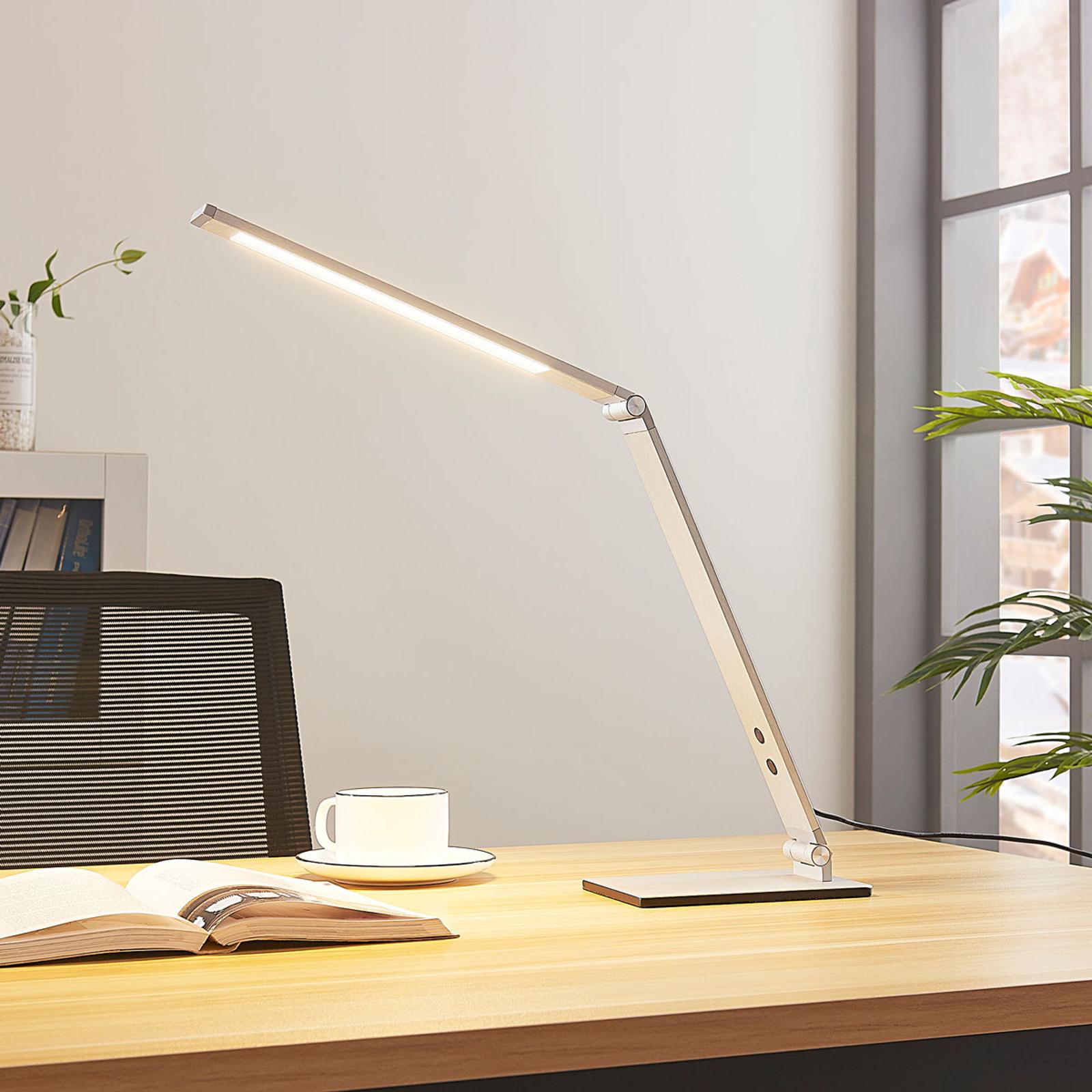 LED-skrivebordslampe Nicano i aluminium med dimmer
