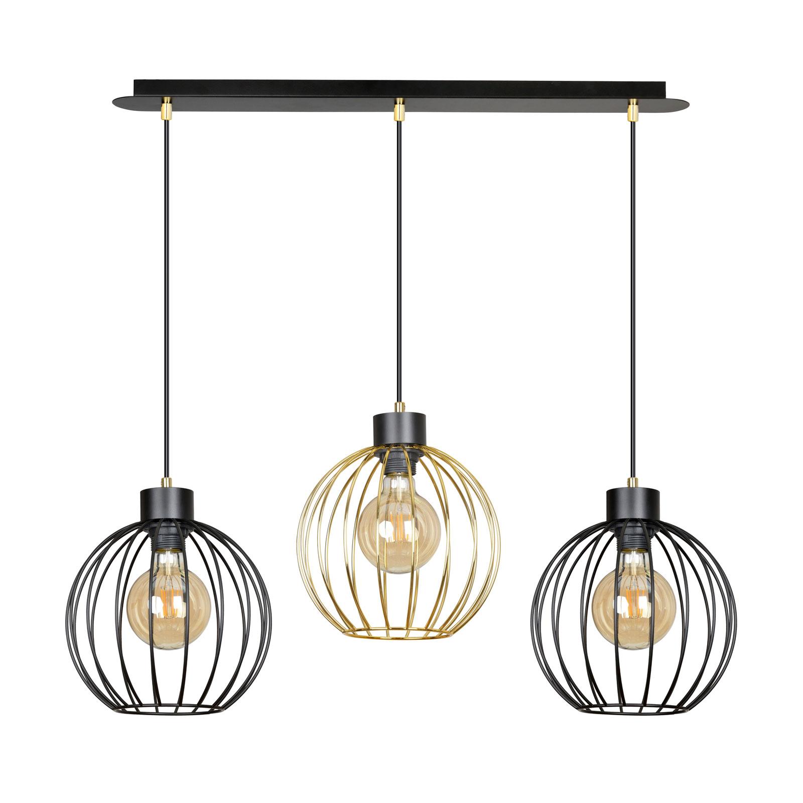 Suspension Pineta 3 à 3 lampes, noire-dorée