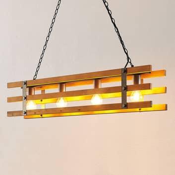 Lindby Jamina sospensione, legno, 4 luci
