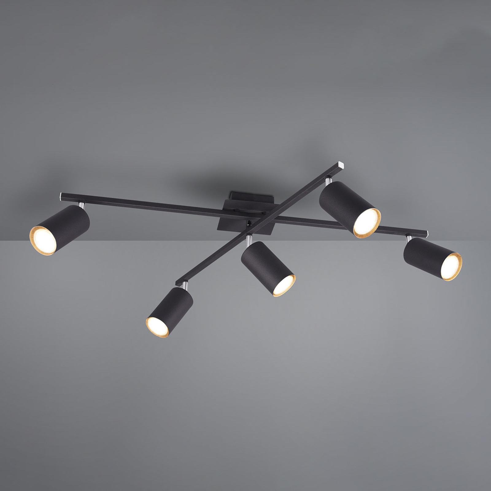 Lámpara de techo Marley, negro, 5 focos