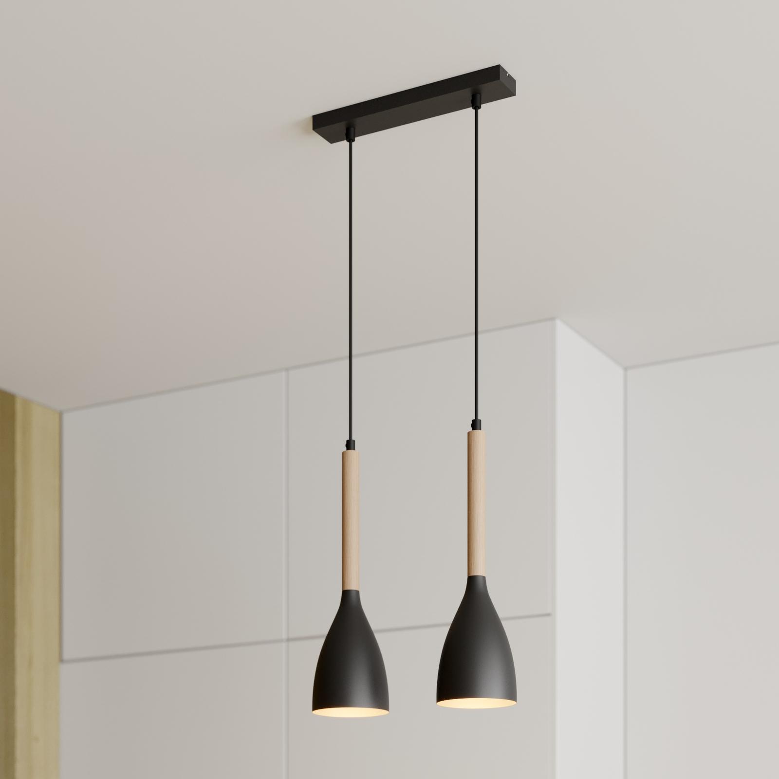 Riippuvalaisin Muza, 2-lamppuinen, musta/kulta