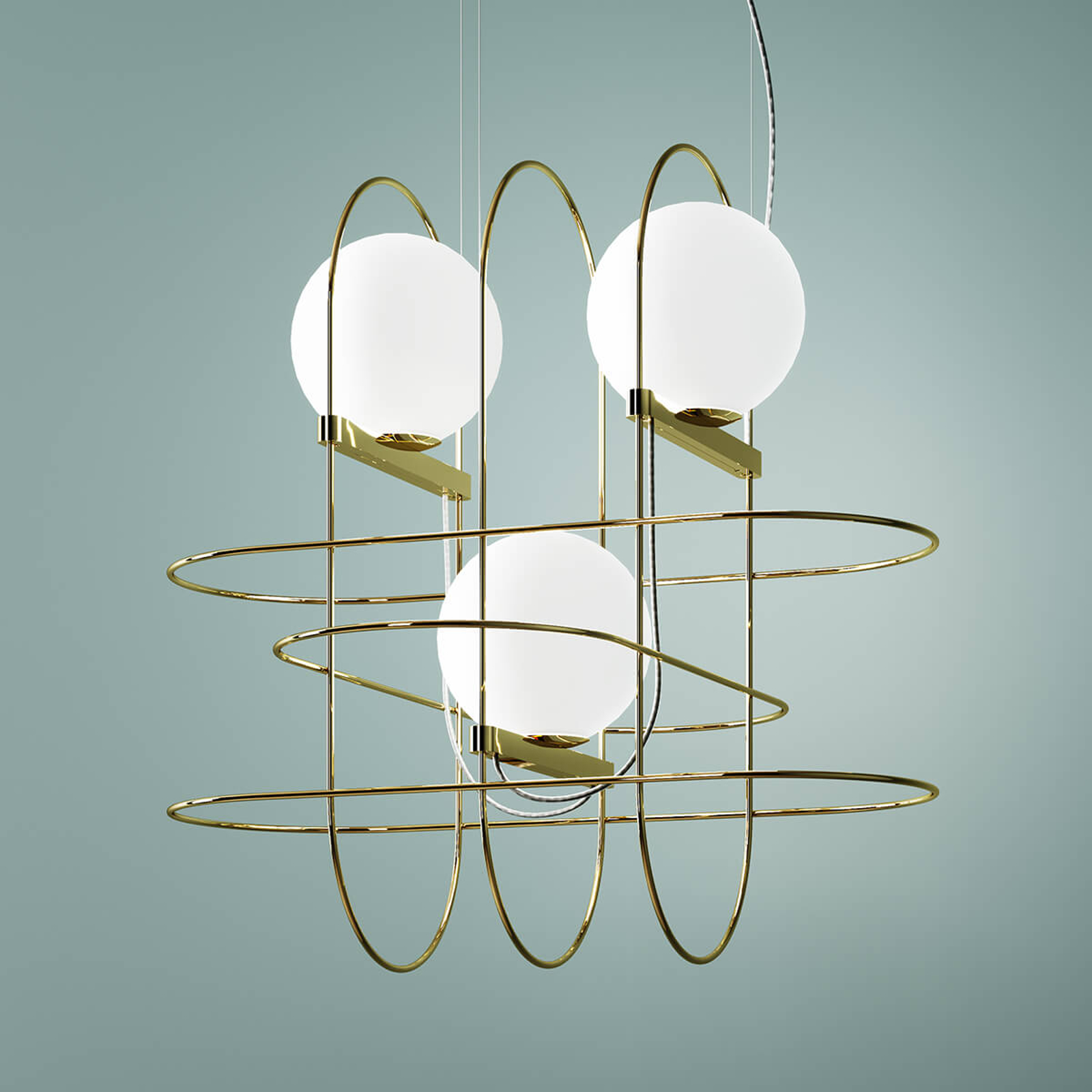 Designerska lampa wisząca LED Setareh, złota
