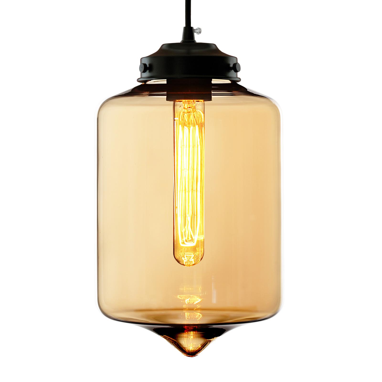 Lampa wisząca LA011 rura E27 klosz bursztynowy