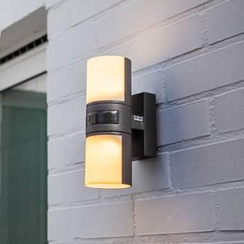 Utendørs LED-vegglampe Cyra, 2 lyskilder, sensor