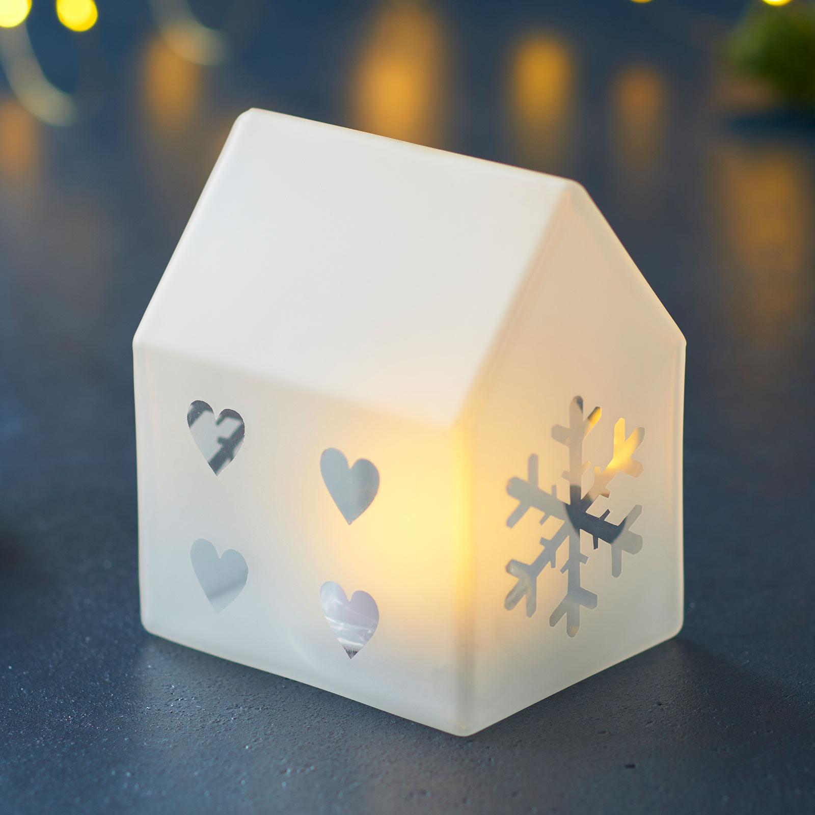 Lampada decorativa LED Santa House, alta 10 cm