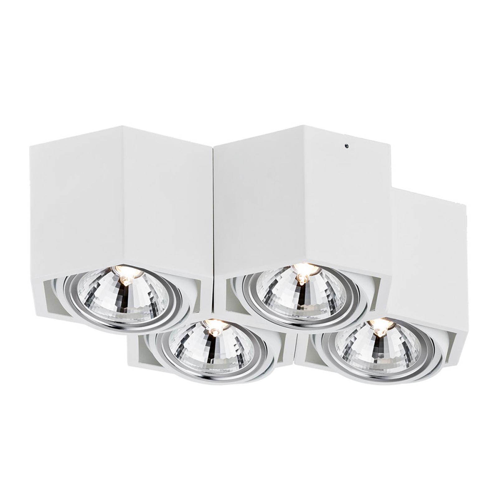 Takspot Elvas, dreibar 4 lyskilder, hvit