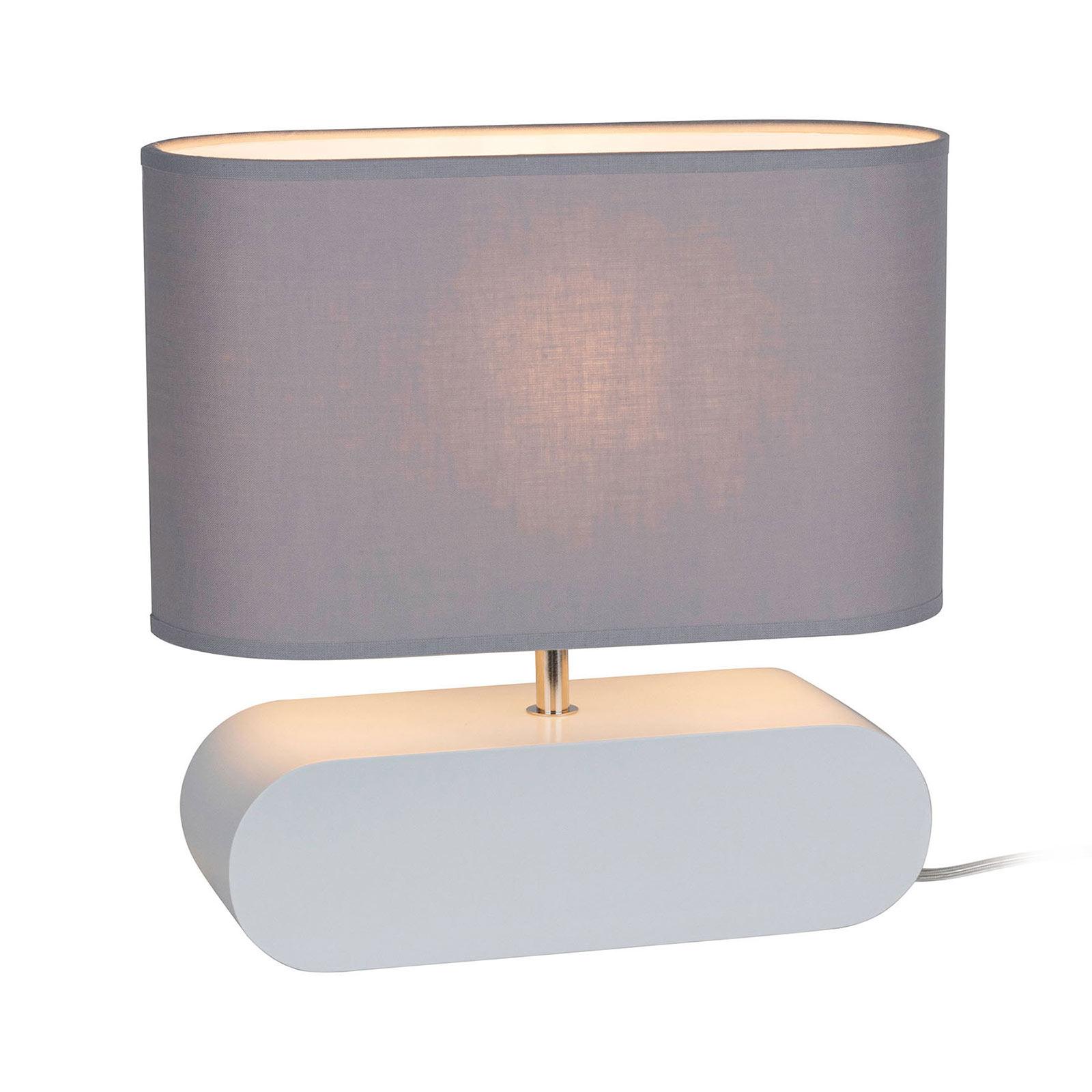 Lampe table Cassy pied blanc, abat-jour tissu gris