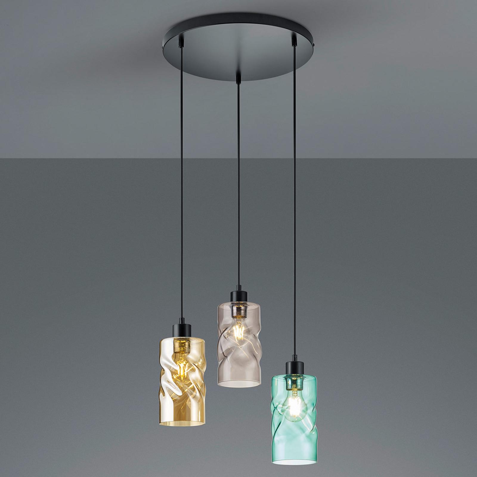 Swirl hængelampe, glasskærme, 3. lyskilder, rund