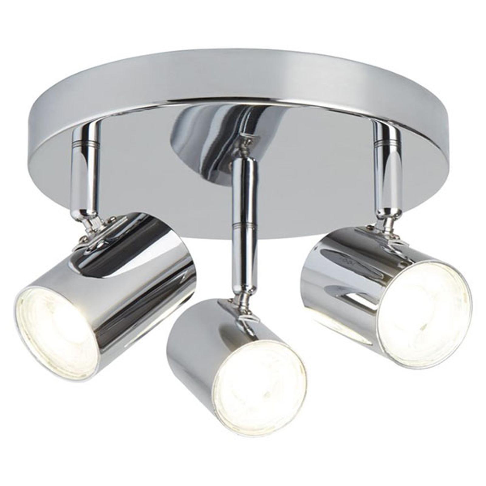 LED plafondlamp Rollo, 3-lamps, chroom