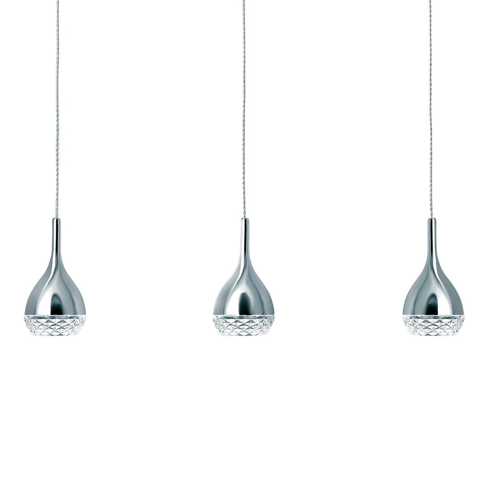 Hanglamp Khalifa in chroom, met drie lampjes