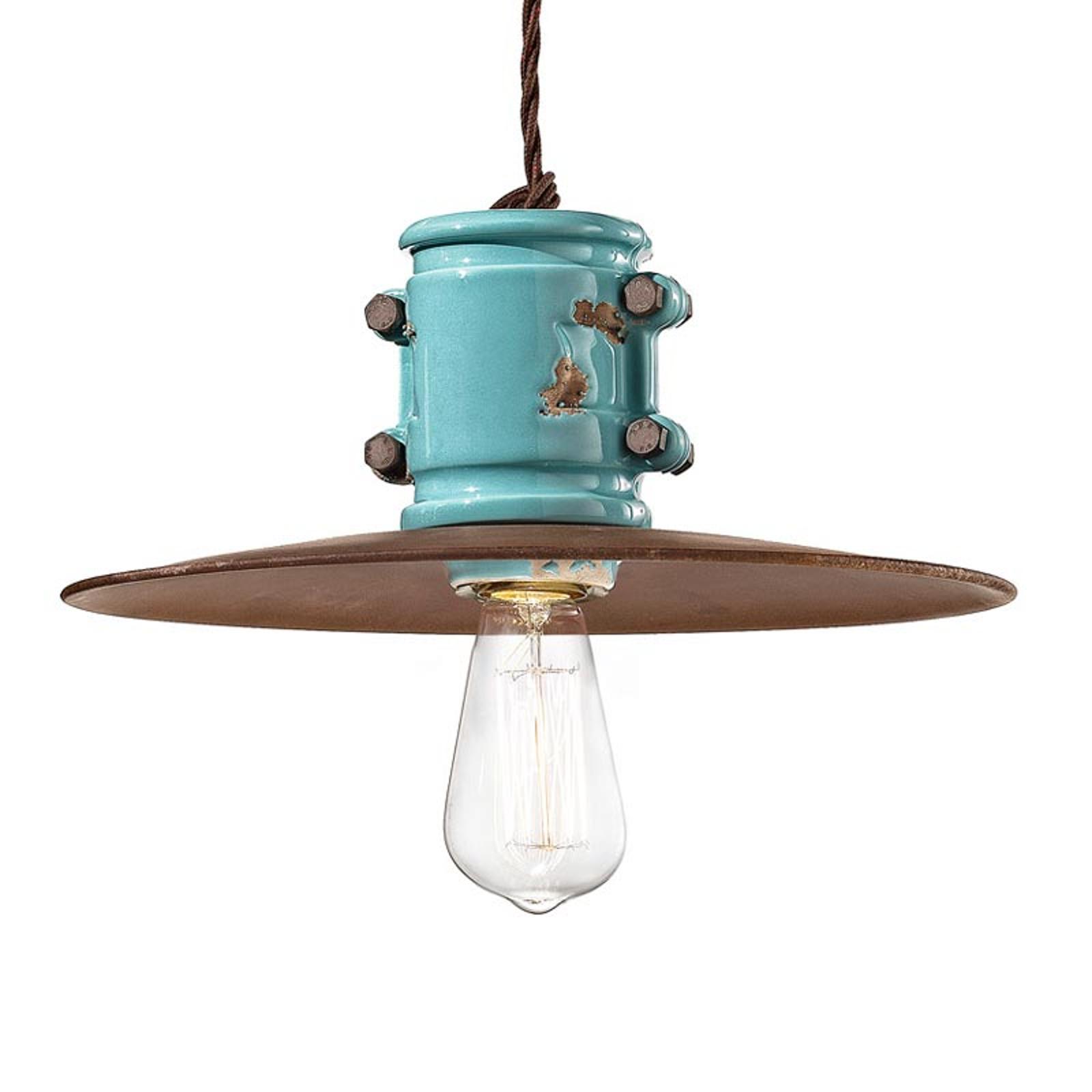 Vintage hanglamp Nicolo in turkoois
