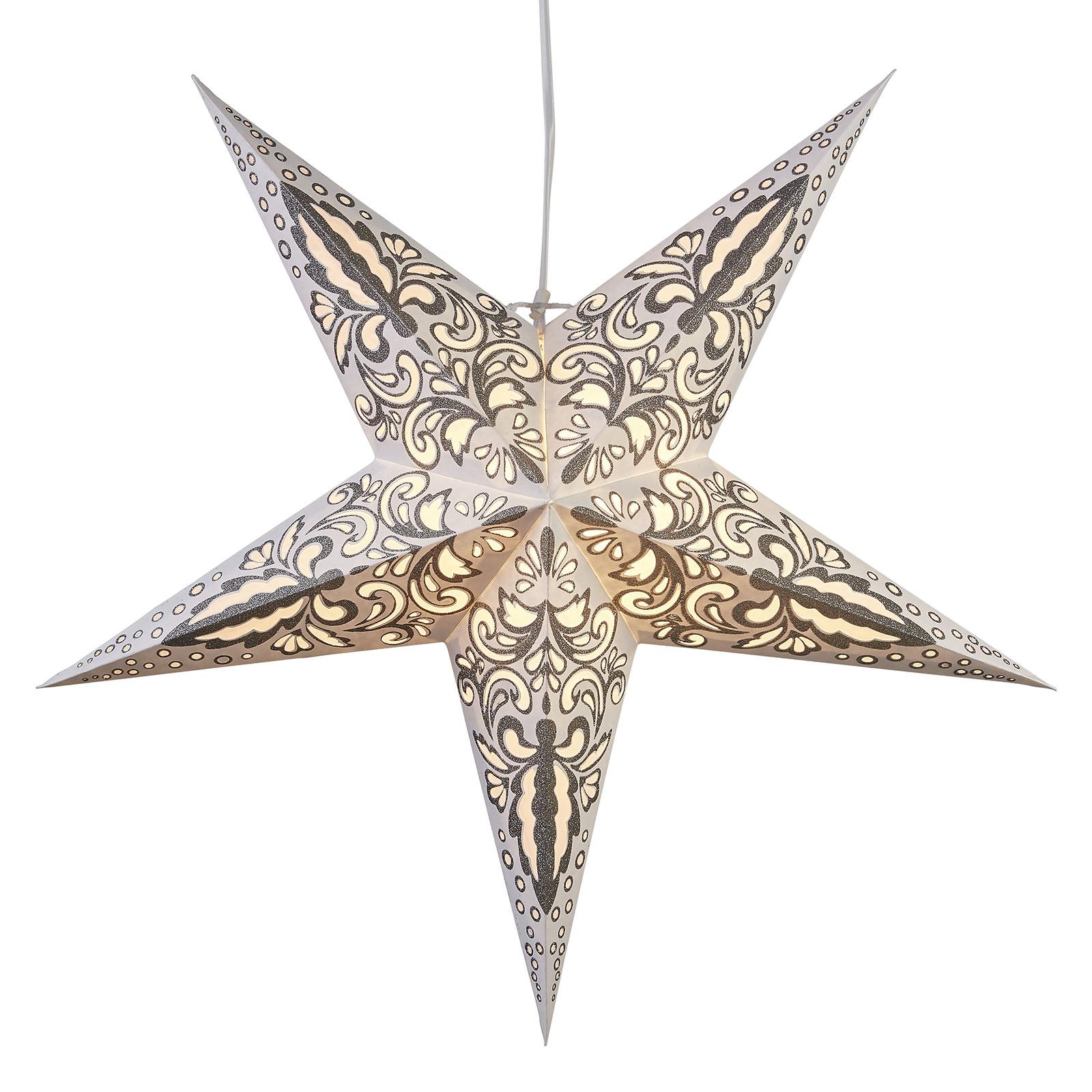 Papírová hvězda Blaze 5cípá, vzorovaná, bílá