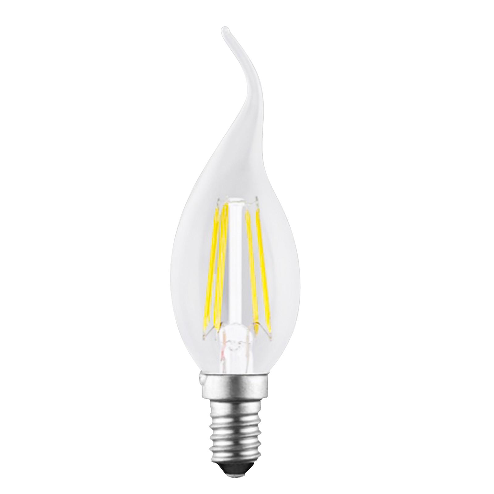 LED-mignonpære E14 4W Filament klar 827 flammeform