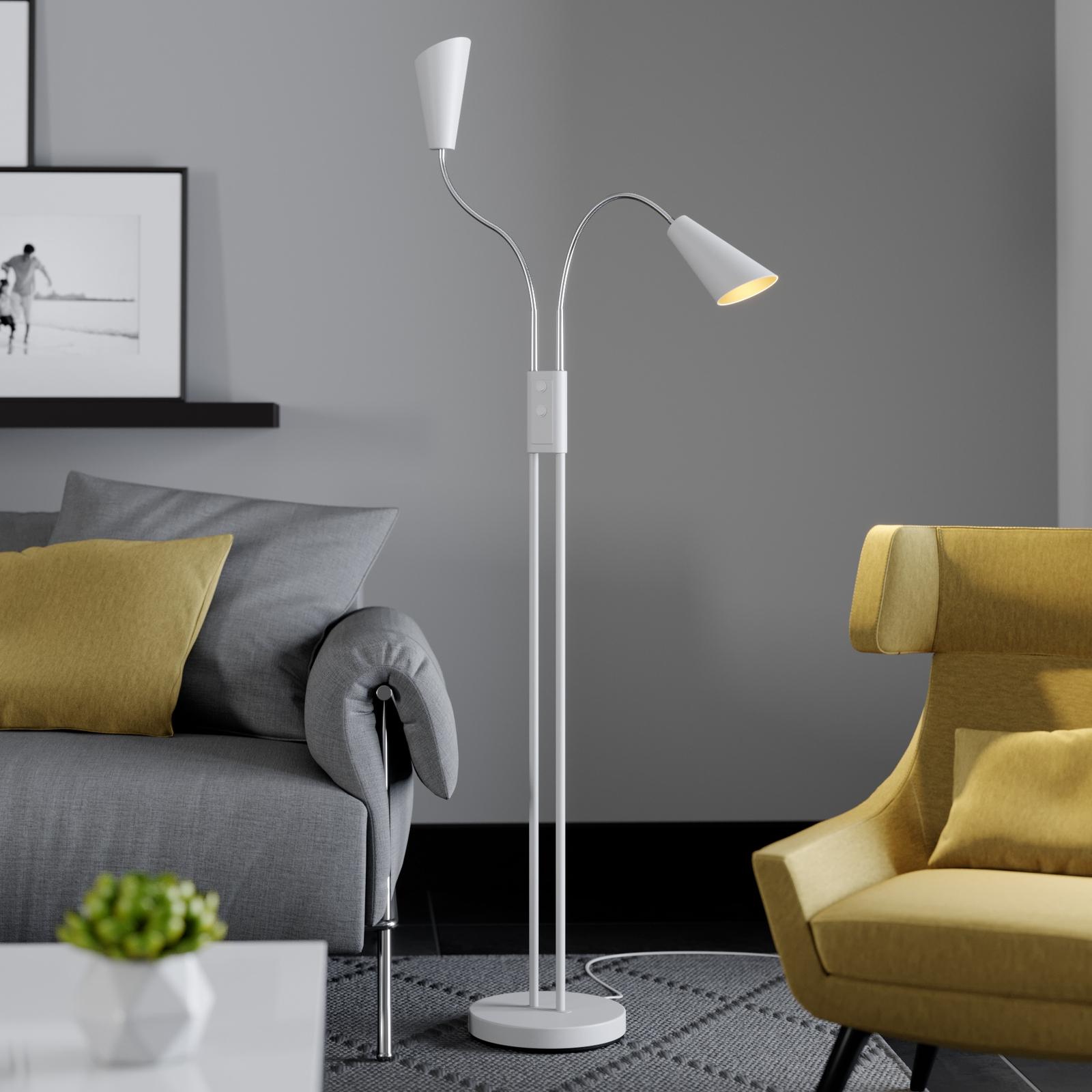 Lucande Medira lampadaire à 2 lampes, blanc