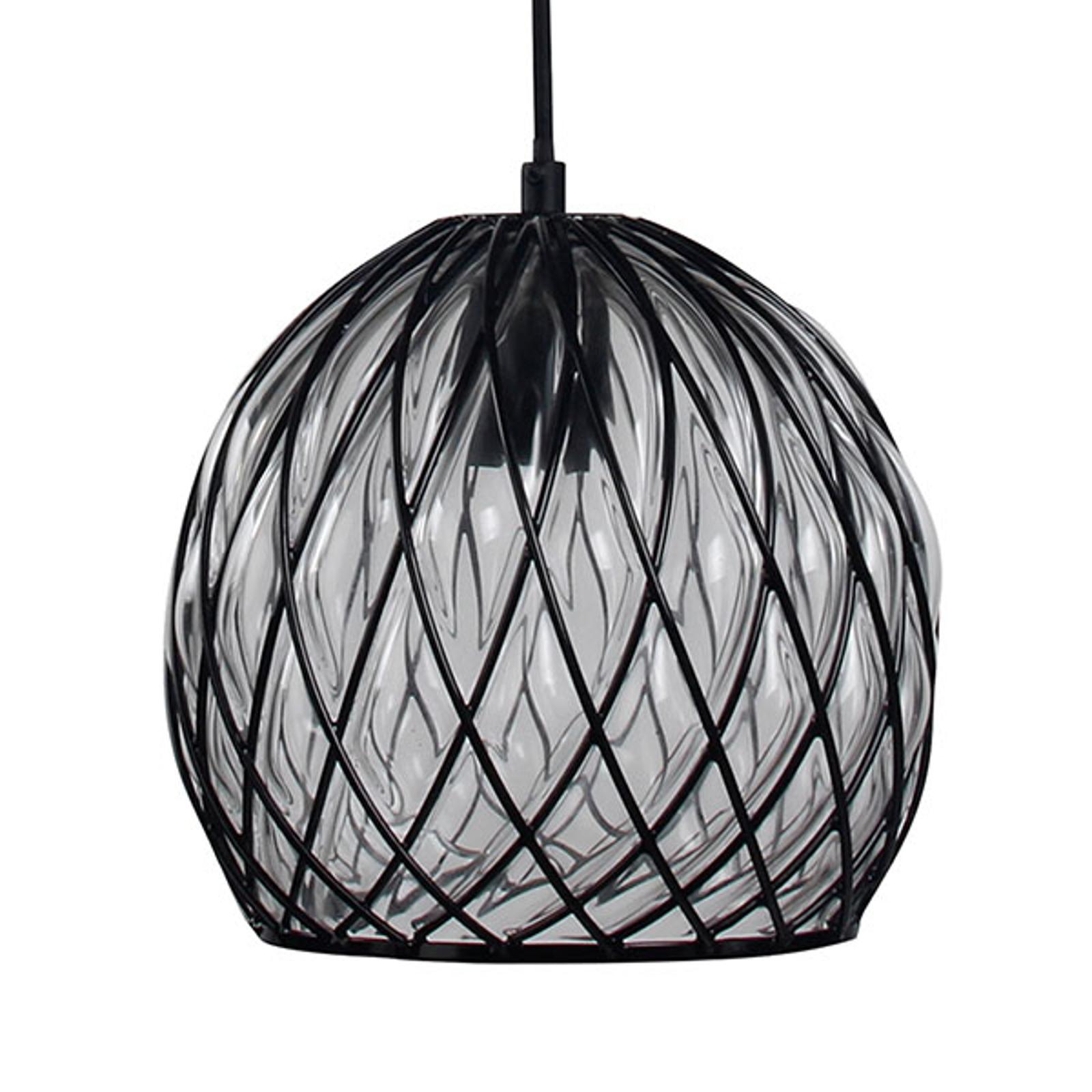 Glashänglampa Fiore med svart metallgaller