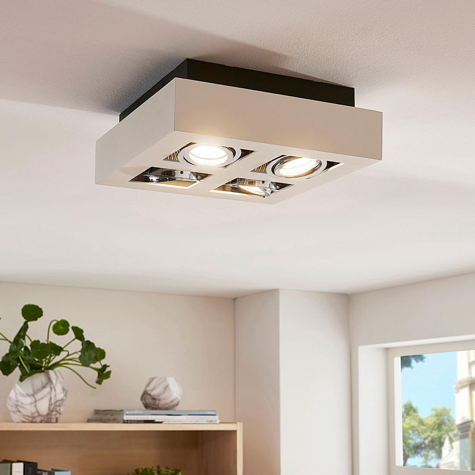 Firkantet LED-taklampe Vince med 4 lys, hvit