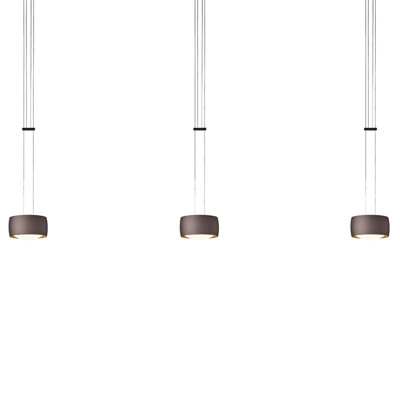 OLIGO Grace LED-Hängeleuchte 3-flg. braun