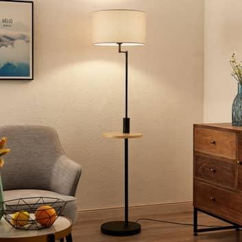 Lindby Zinia lampa podłogowa półka i USB, czarna