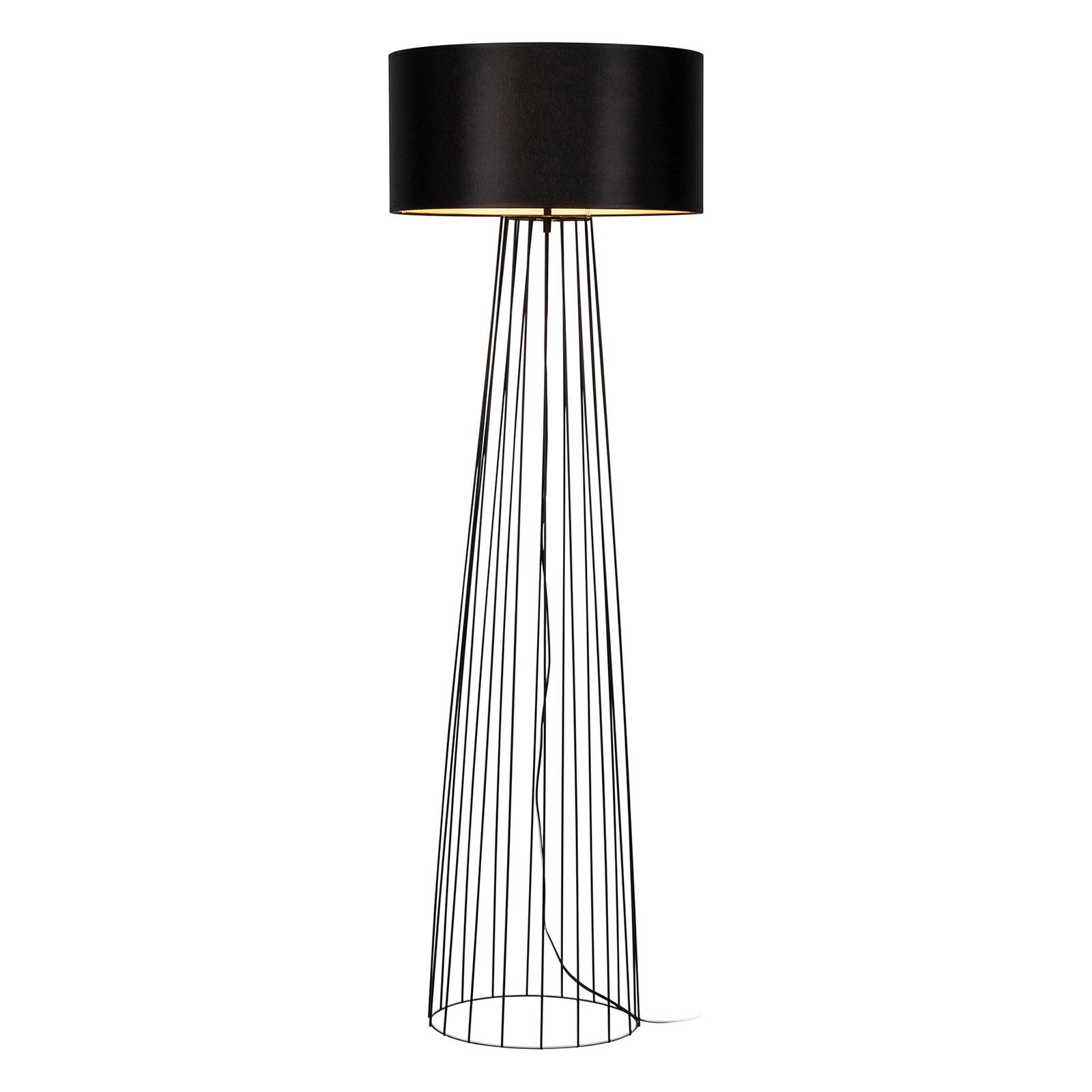 Lámpara de pie Valene con pantalla textil, negro