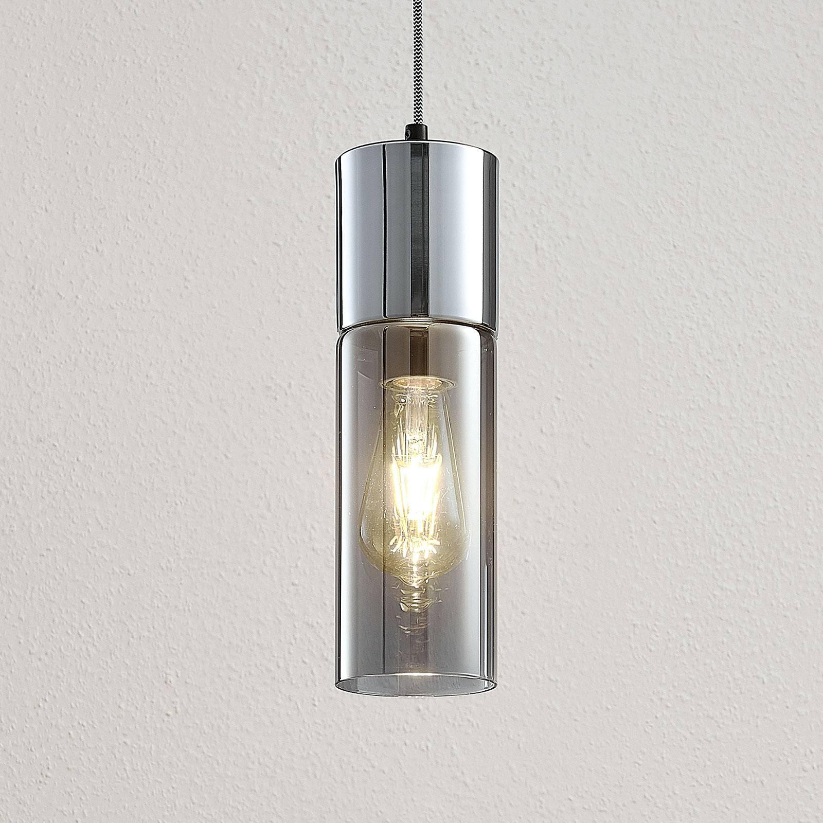 Hanglamp Eleen met cilinder in rookglas
