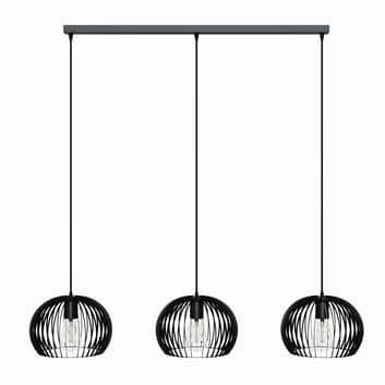 Lampada a sospensione Larus acciaio nero, 3 luci
