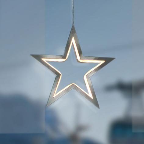Estrella LED Lucy en cromo, 18 cm