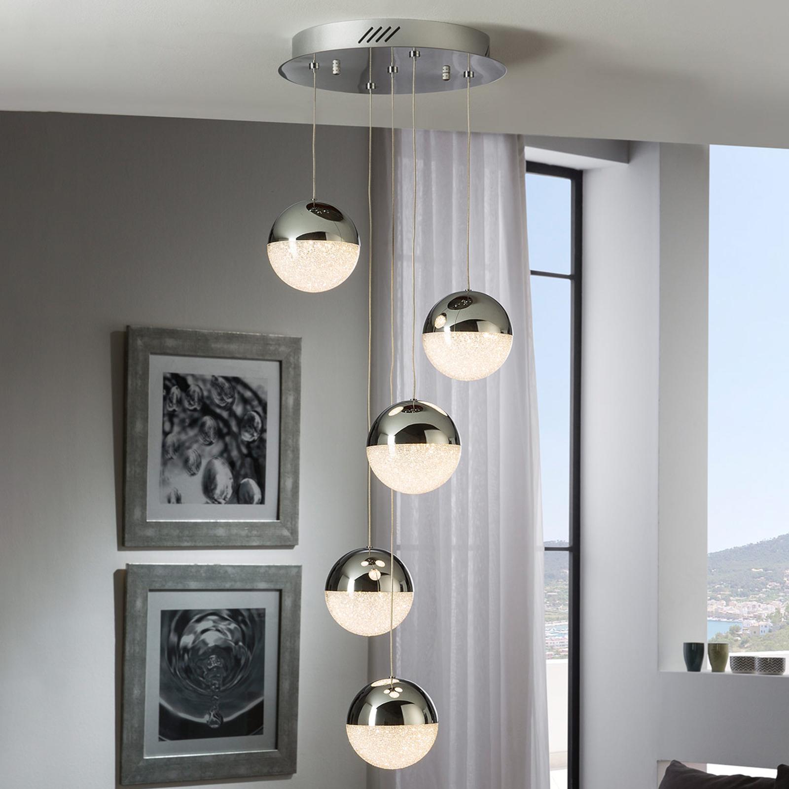 LED-hengelampe Sphere, 5 lyskilder, krom
