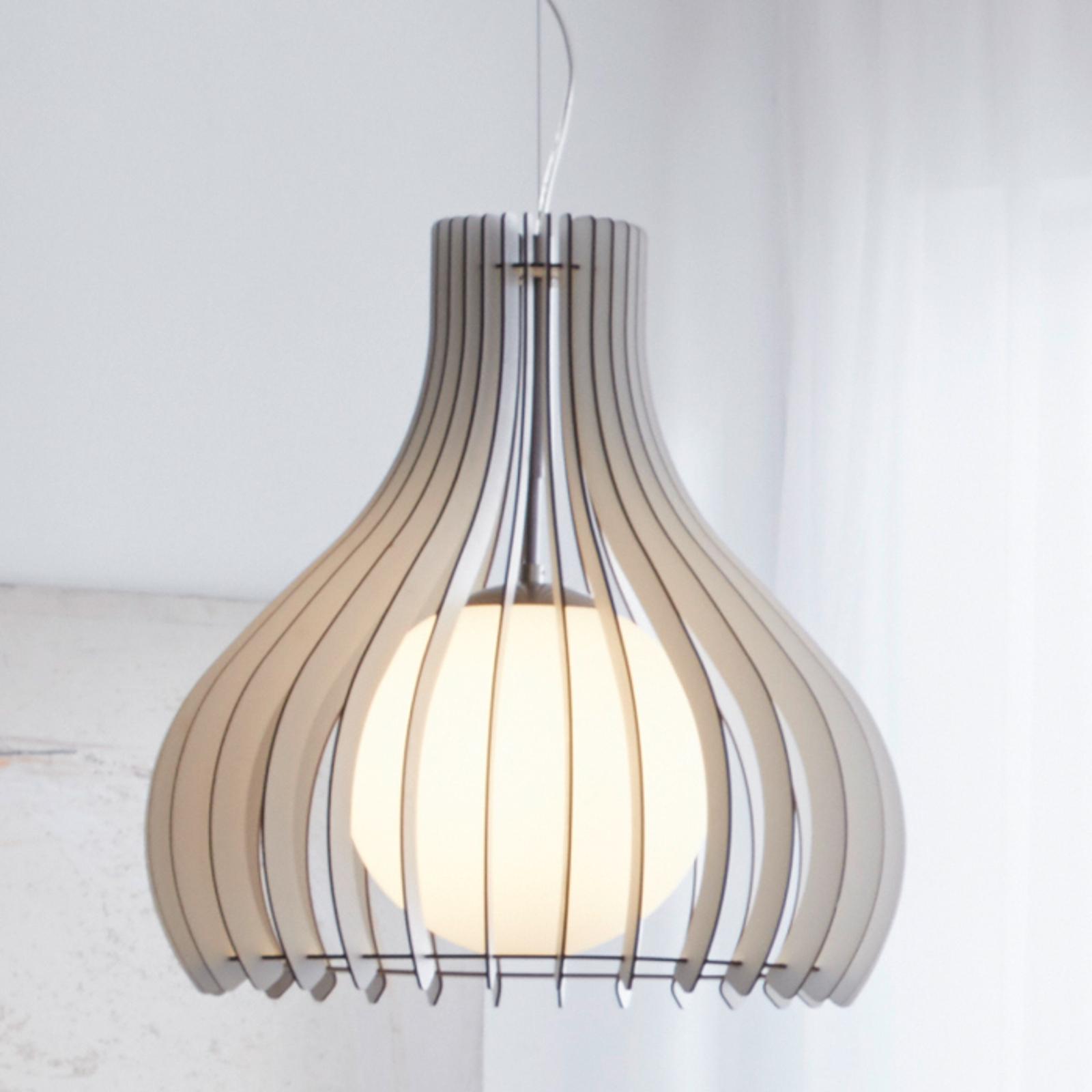 Hängelampe Tindori mit Holzlamellen, weiß