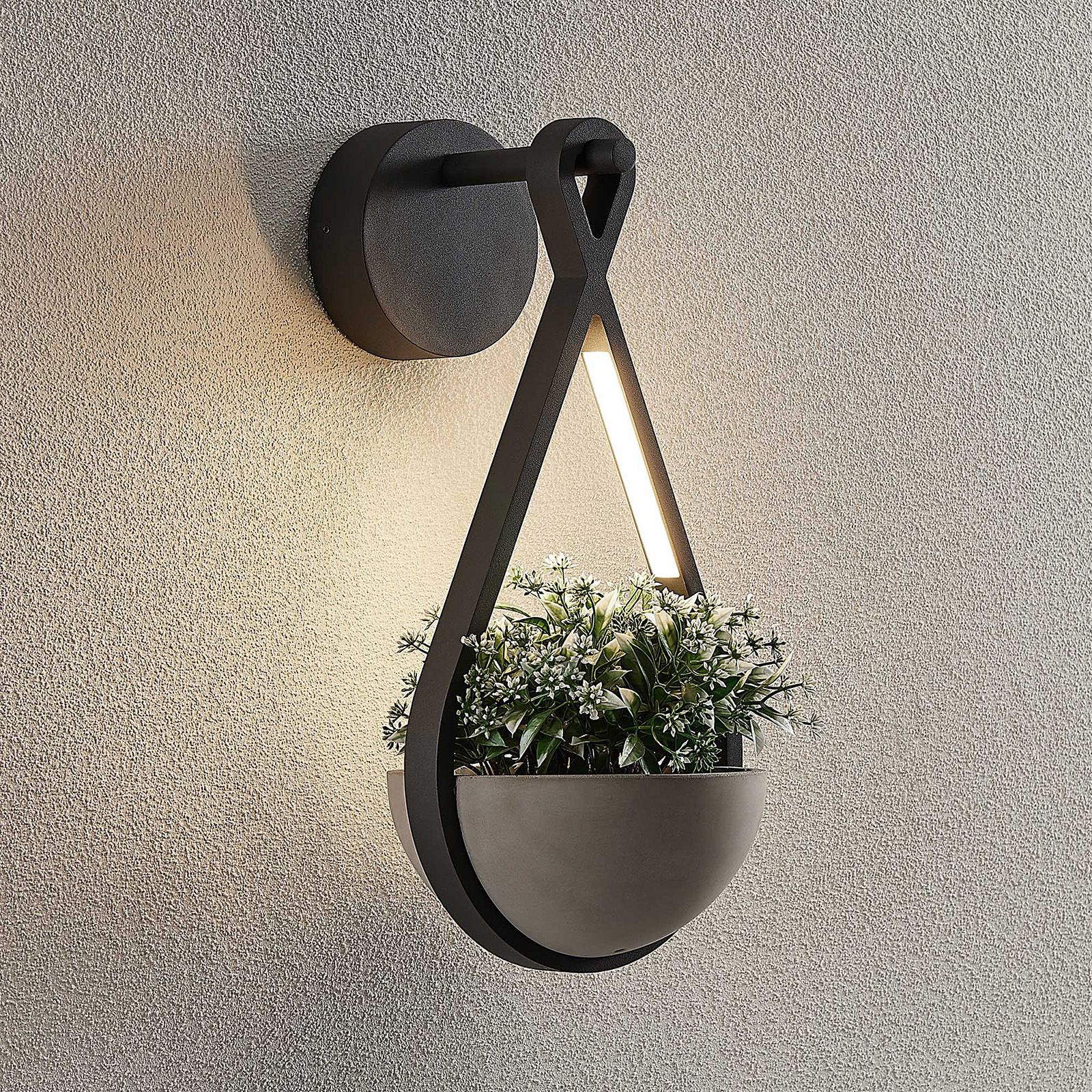 Lucande Florka utendørs LED-vegglampe