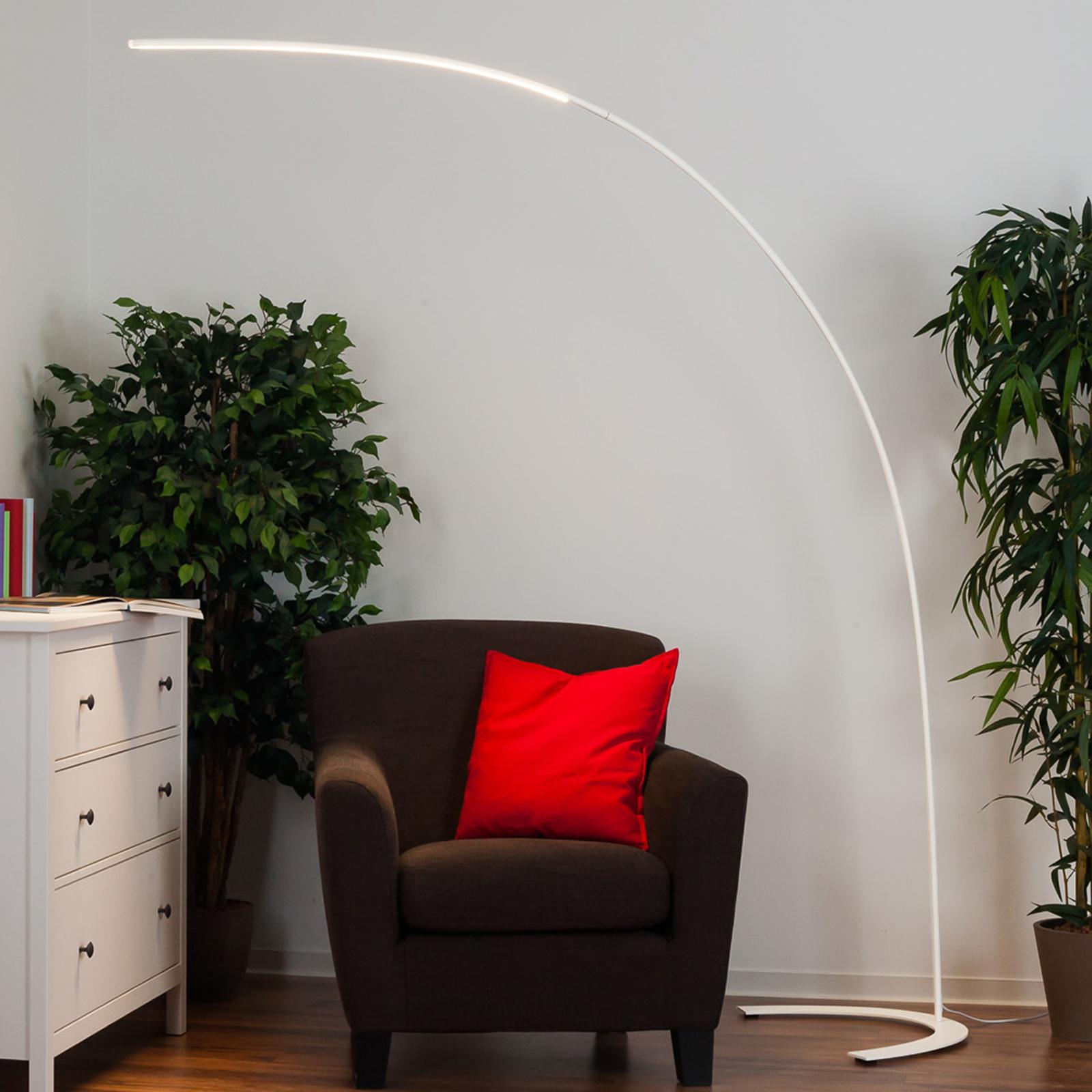 Minimalistyczna lampa stojąca LED Danua, biała