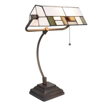 Lampe de bureau 5194 abat-jour en verre blanc-vert