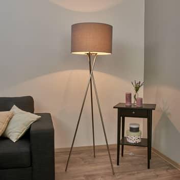 Fiby trebenet gulvlampe med grå skærm