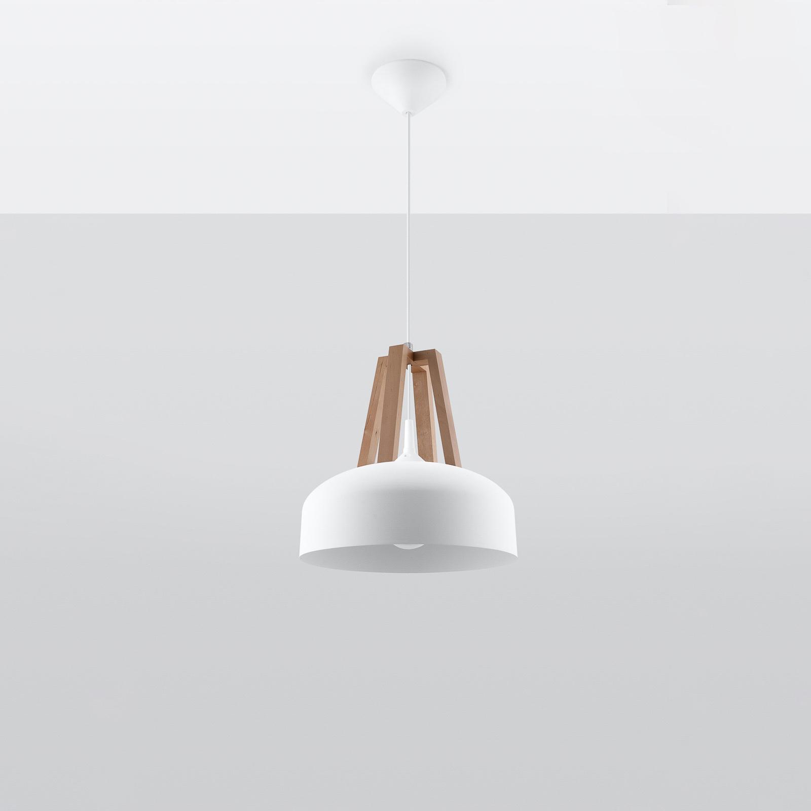 Lampa wisząca North drewno naturalne, biały klosz
