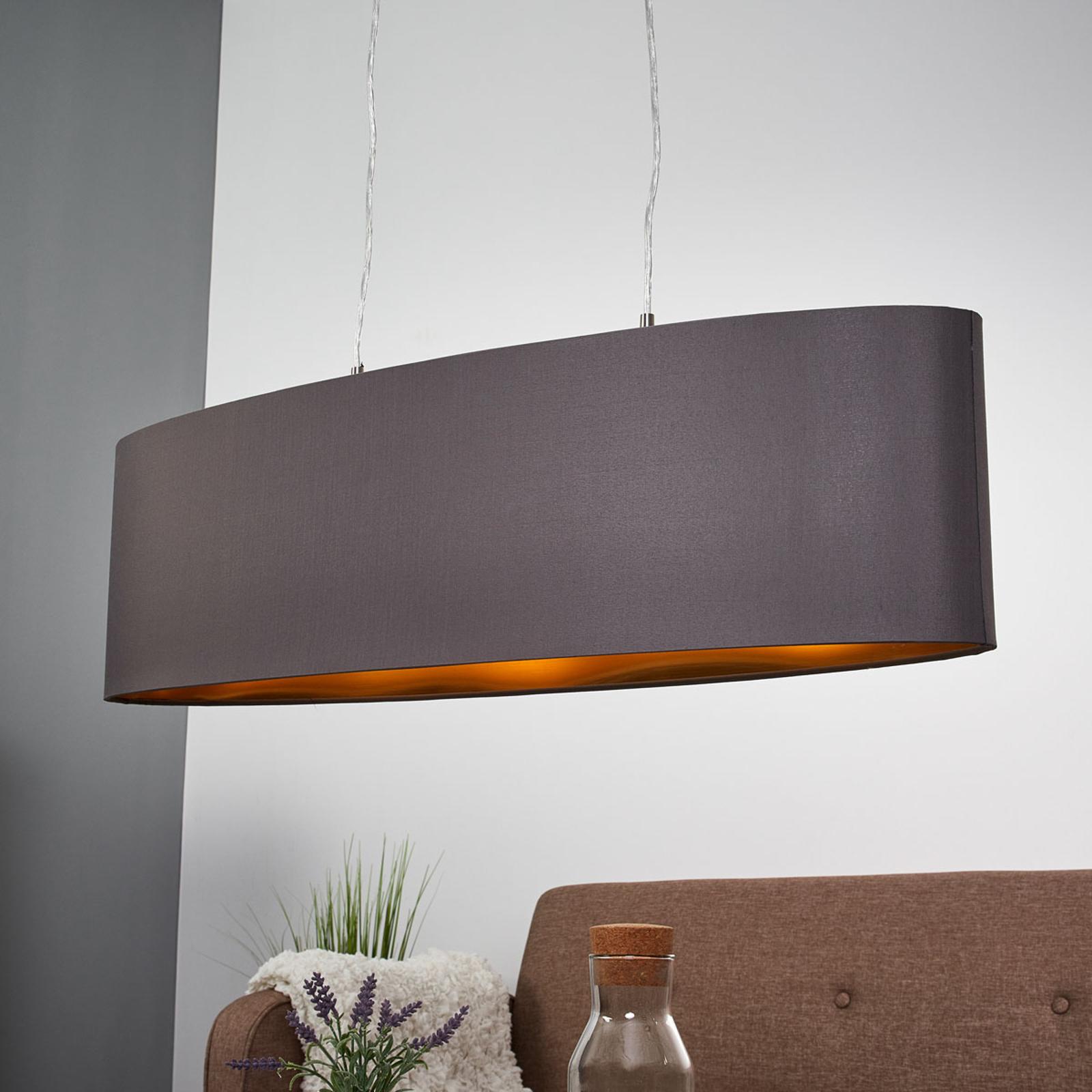 Textil-Hängeleuchte Lecio, oval, 78 cm, schwarz