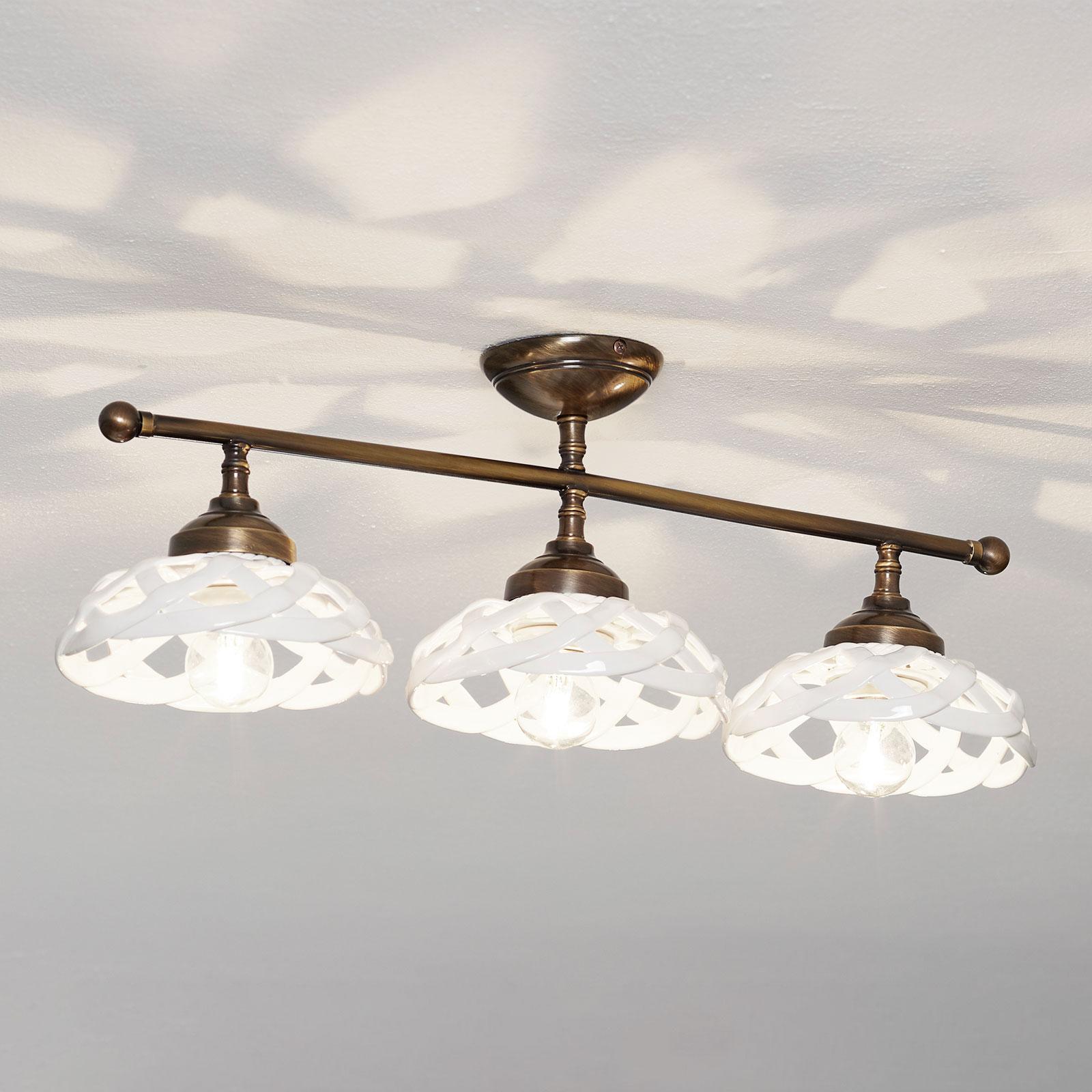 Plafonnier céramique Emanuel à 3 lampes
