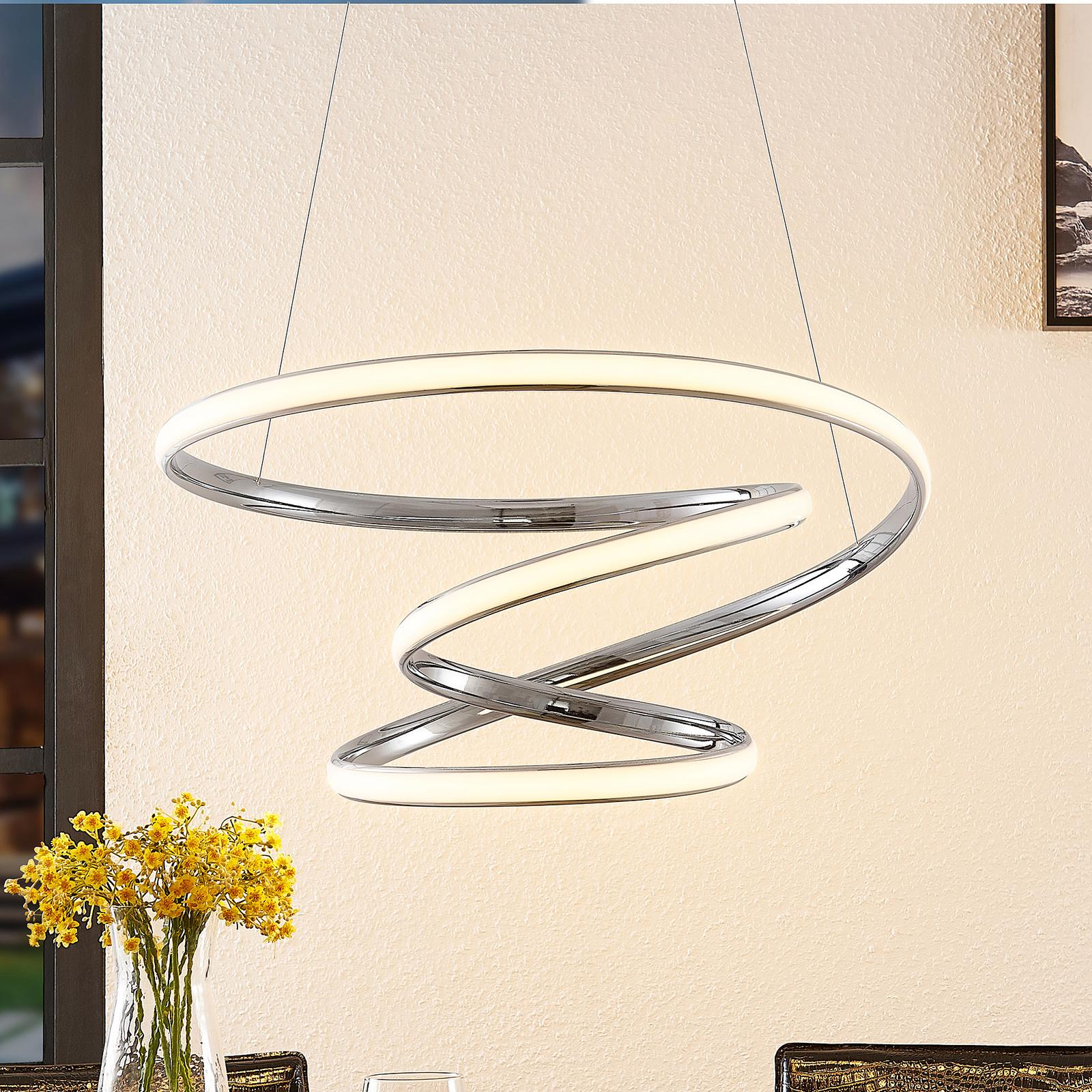 Lucande Sakina LED-hengelampe, krom Ø 58 cm