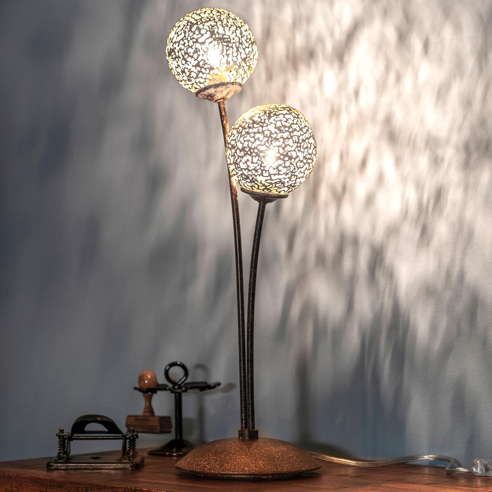 Lampada da tavolo Greta look ruggine, 2 luci