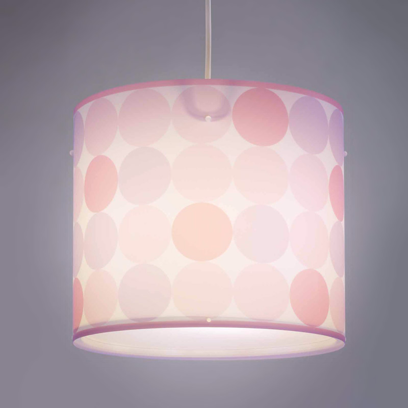 Lampa wisząca Colors w kropki, różowa