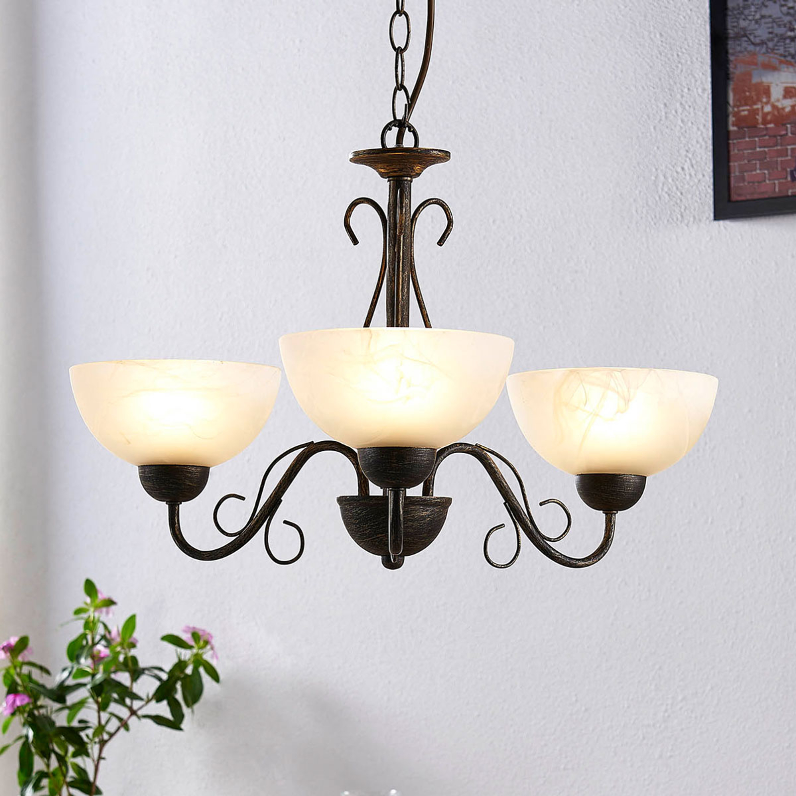 Mohija - romanttinen riippuvalaisin, 3-lampp.